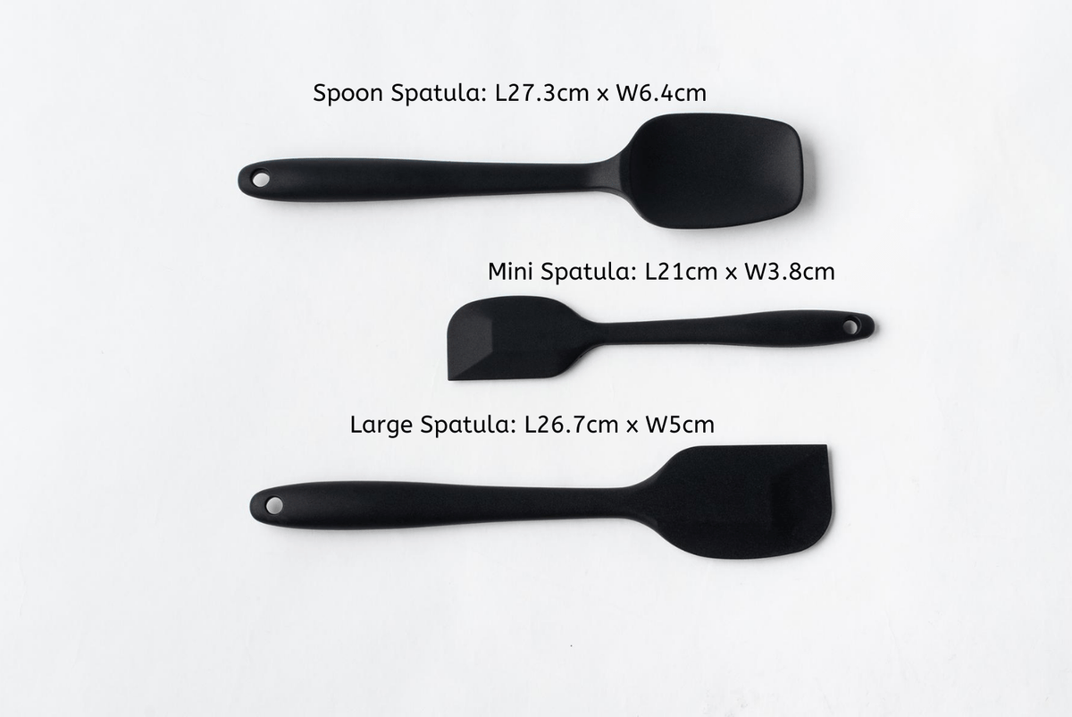 3 pieces black silicone spatula set with measurement