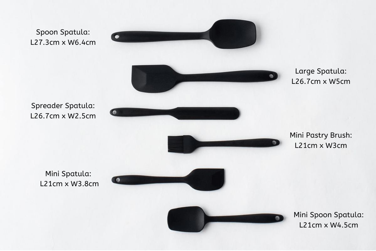 6 pieces black silicone spatula set with measurement