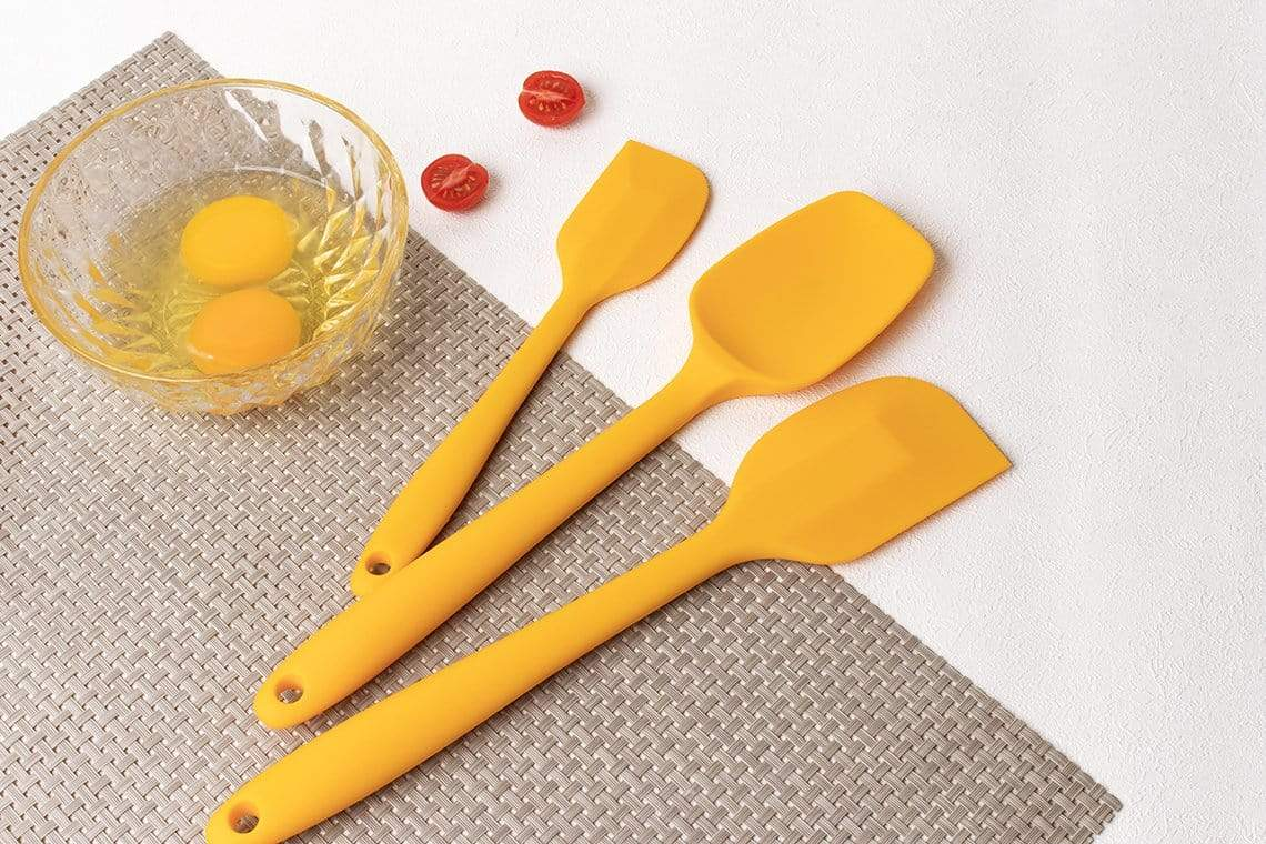 3 pieces yellow silicone spatula set