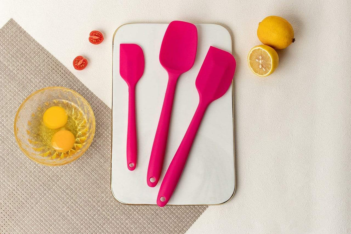 3 pieces rose pink silicone spatula set