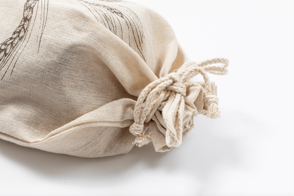 Close-Up of Linen Bread Bag with Drawstring Tie Closure