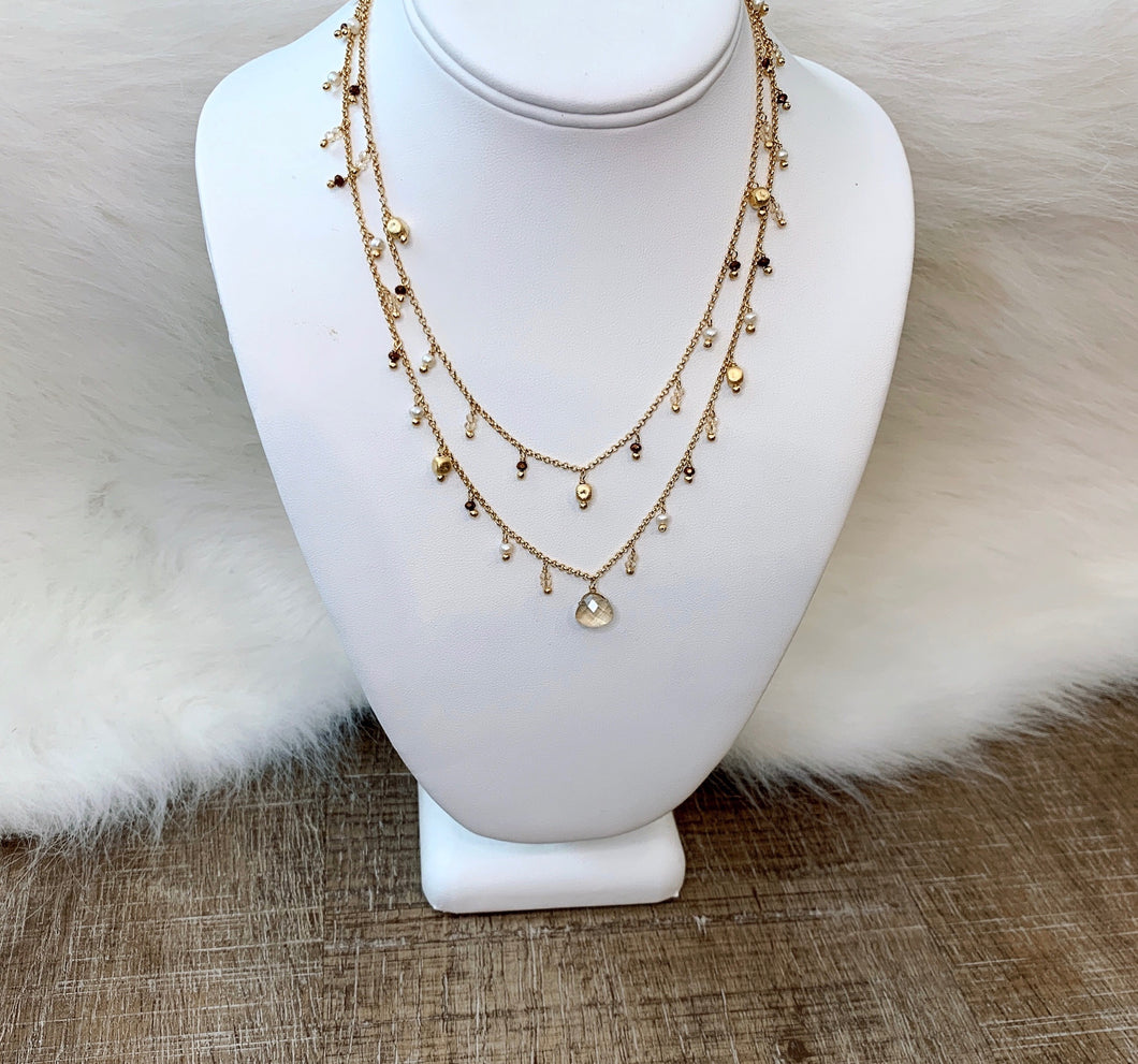 Donna Si Double Strand Crystal Drop Necklace