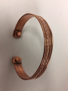 Men's Copper Cuff Bracelet With Magnets
