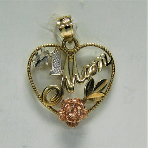 14K Mom Charm Tri-Color Gold Charm