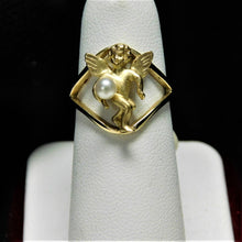 Load image into Gallery viewer, 14K Gold Angel Ring with Pearl