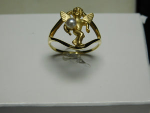 14K Gold Angel Ring with Pearl