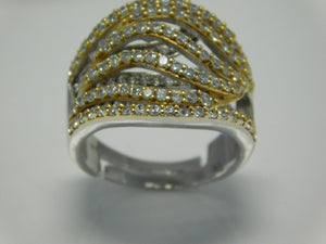 Sterling Silver Two Tone Pave Set CZ Ring