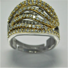 Load image into Gallery viewer, Sterling Silver Two Tone Pave Set CZ Ring