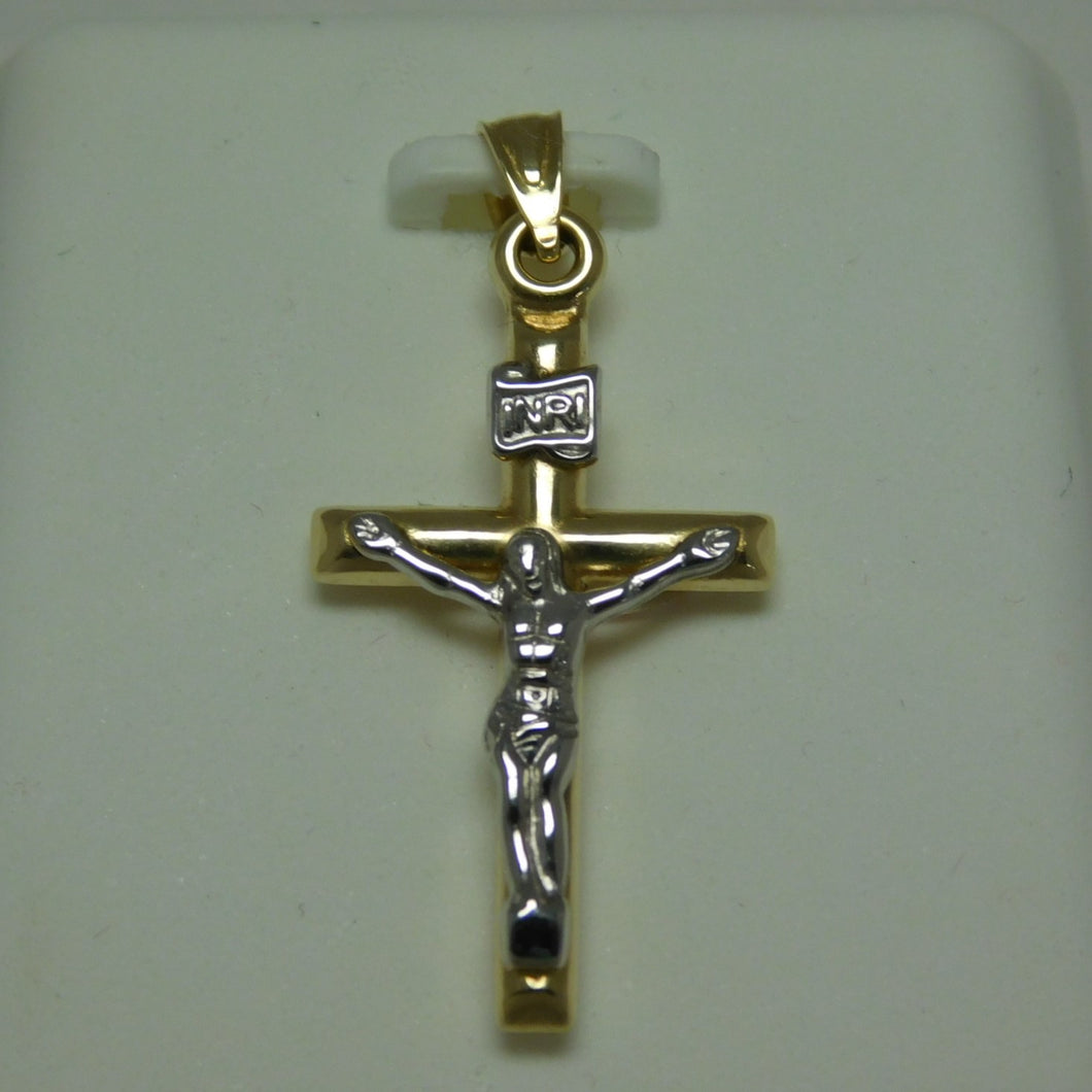 14K Gold Two Tone Crucifix Pendant