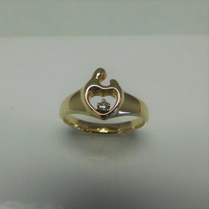 14K Mother and Child Diamond Ring with Heart