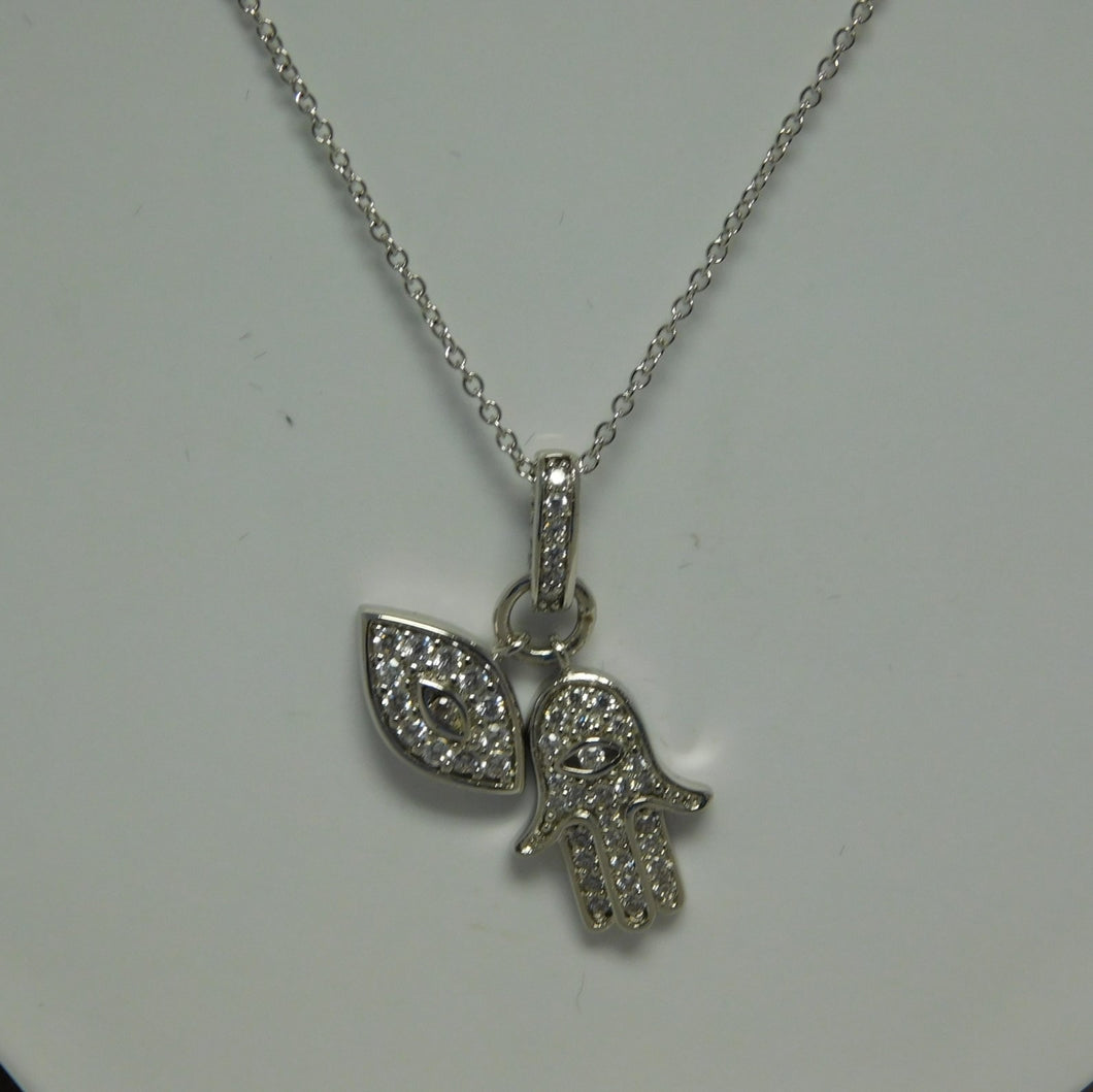 Sterling Silver Hamsa /Evil Eye SC Necklace.