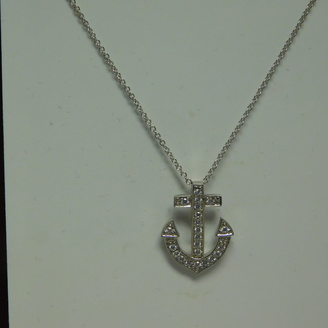 Sterling Silver Anchor SC Necklace