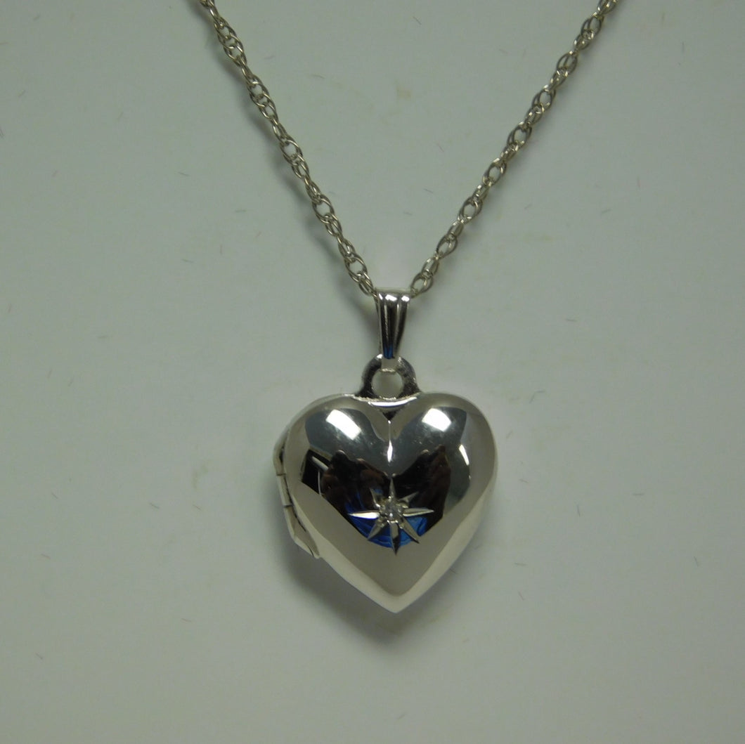 Sterling Silver Heart Locket SC Necklace