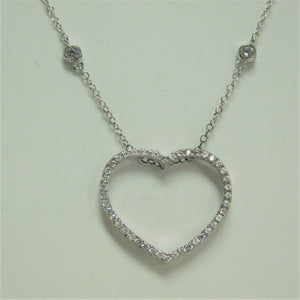 Sterling Silver Open Heart SC Necklace