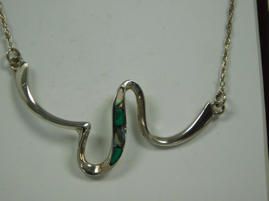 Sterling Silver Malachite Abalone SC Necklace