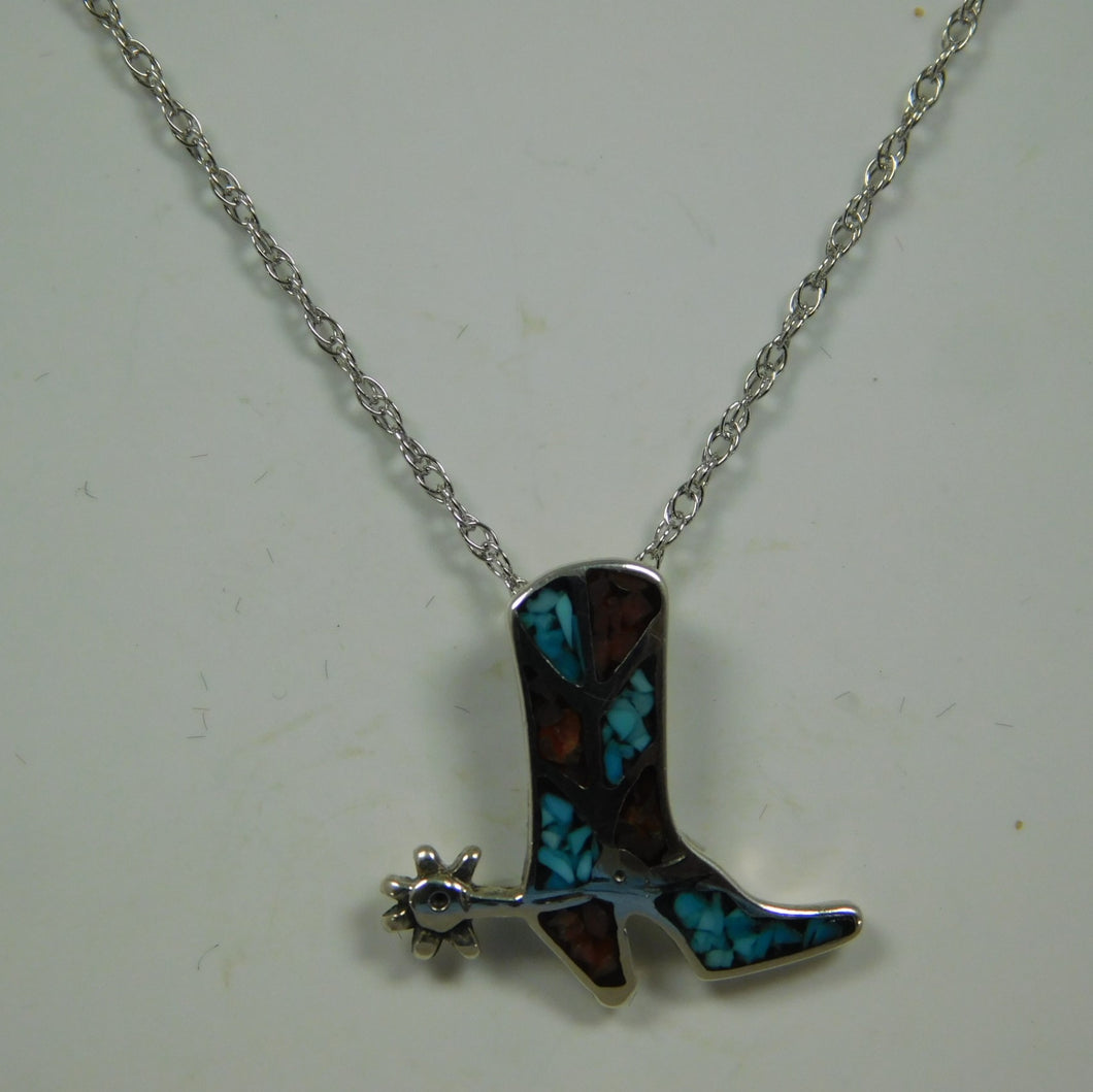 Sterling Silver Turquoise And Coral Boot SC Necklace