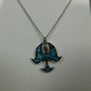 Sterling Silver Turquoise Thunder Bird SC Necklace