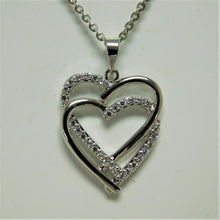 Load image into Gallery viewer, Sterling Silver Two Heart SC Necklace
