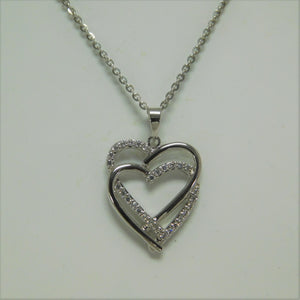 Sterling Silver Two Heart SC Necklace