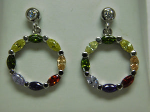Sterling Silver Multi Stone Earring.