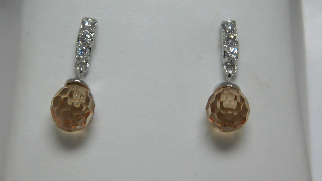 Sterling Silver Citrine Color Earrings