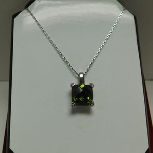 Sterling Silver Green Cubic Zircon SC Necklace