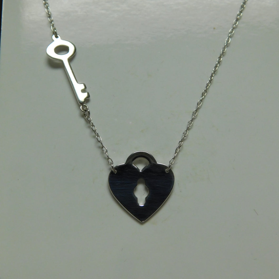 Heart and Key Sterling Silver SC Necklace