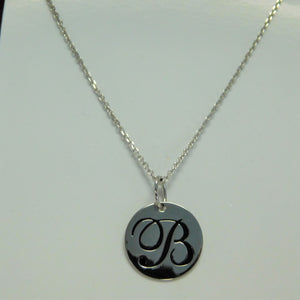 "Sterling Silver ""B"" Initial SC Necklace"