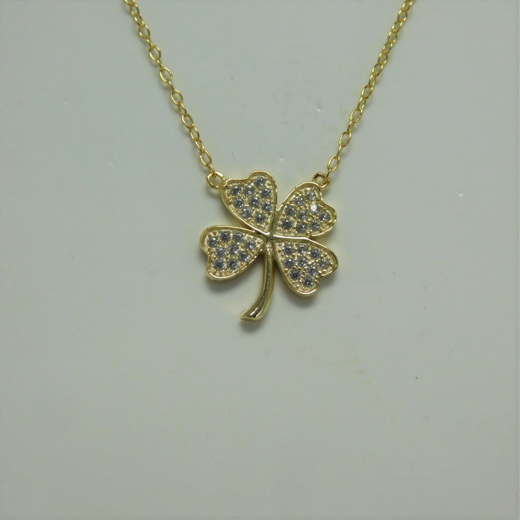 Sterling Silver Vermeil Shamrock SC Necklace