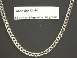 18 Inch Solid Sterling Silver Cuban Link Chain