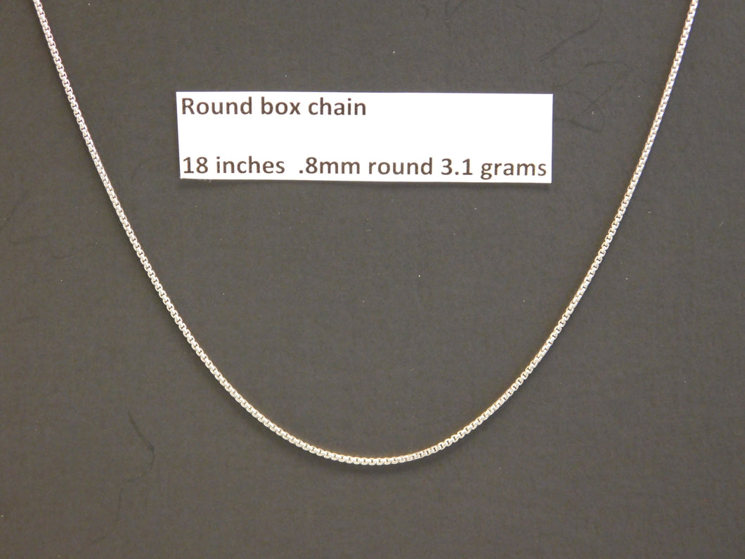 18 Inch Sterling Silver Round Box Chain