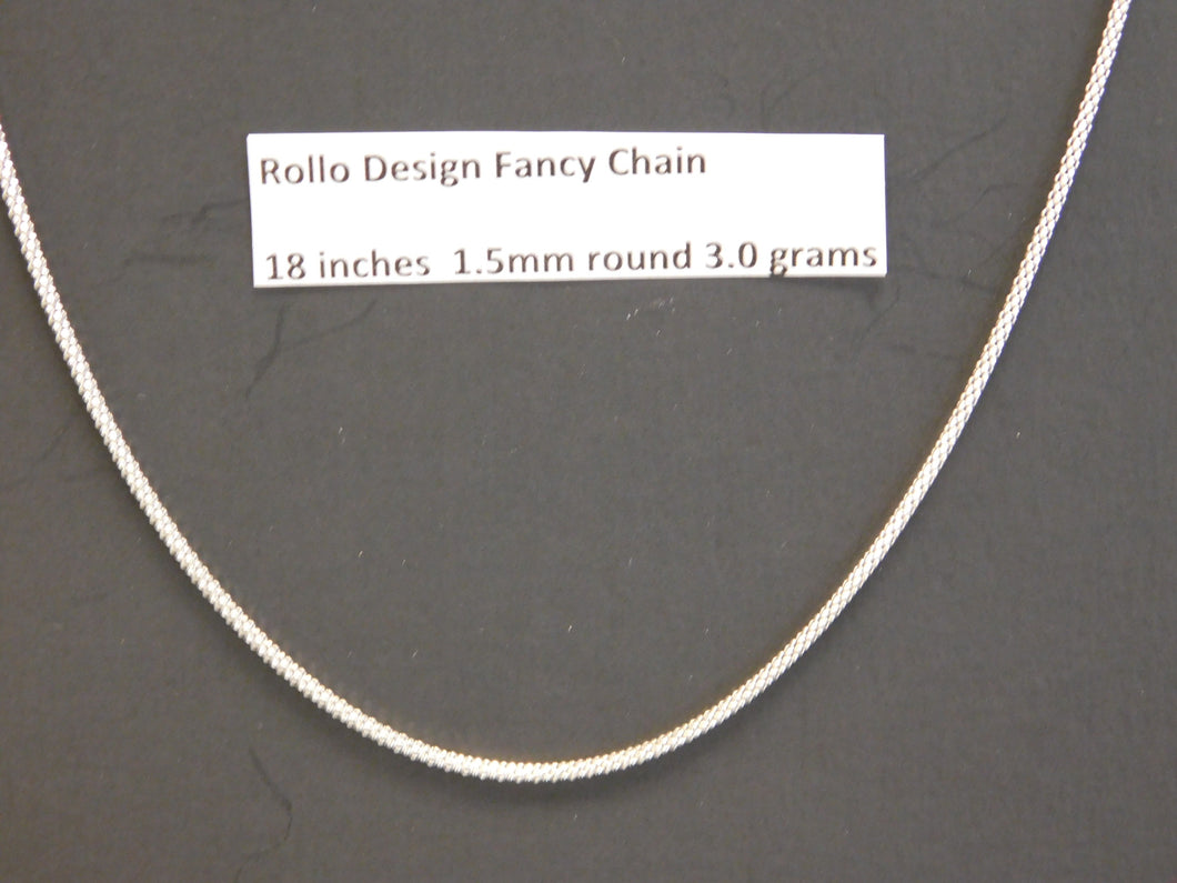 18 Inch Sterling Silver Rollo Design Chain