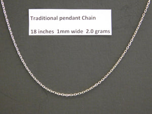 18 Inch Sterling Silver Traditional Pendant Chain