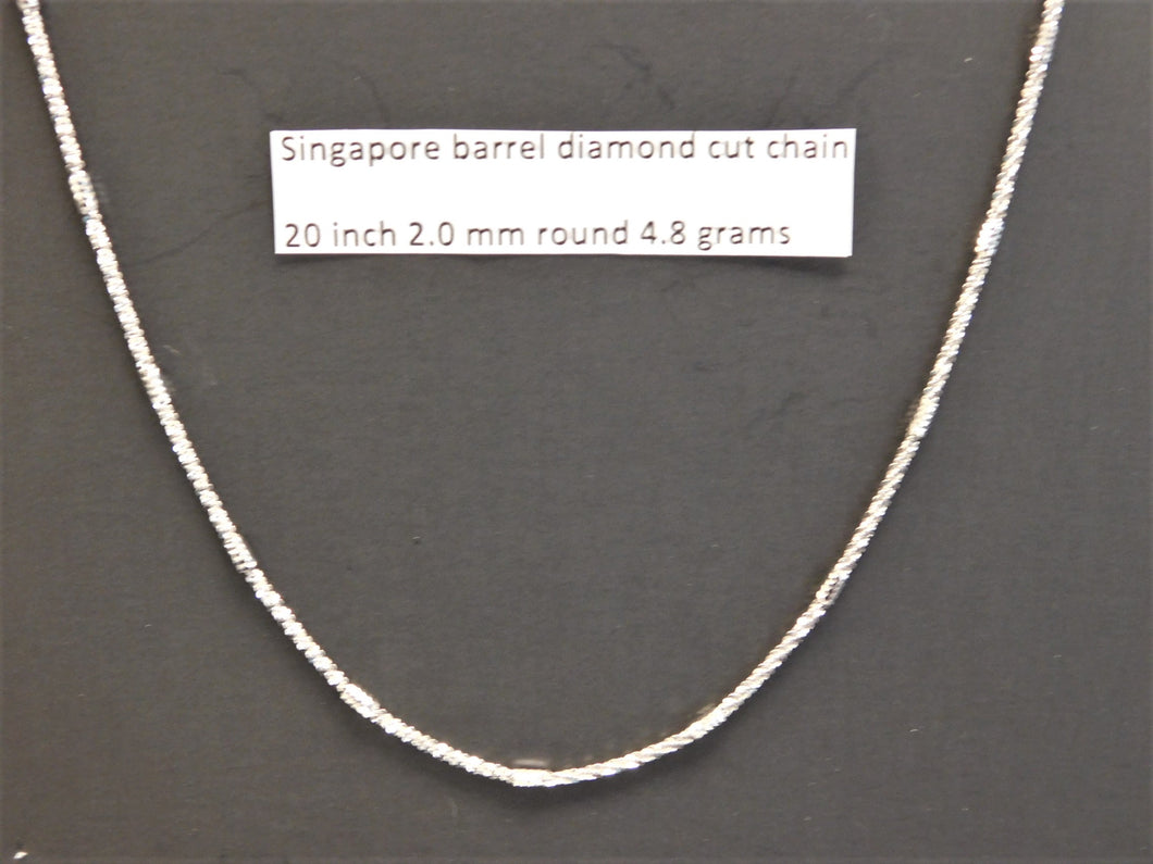 20 Inch Sterling Silver Singapore Barrel Diamond Cut Chain