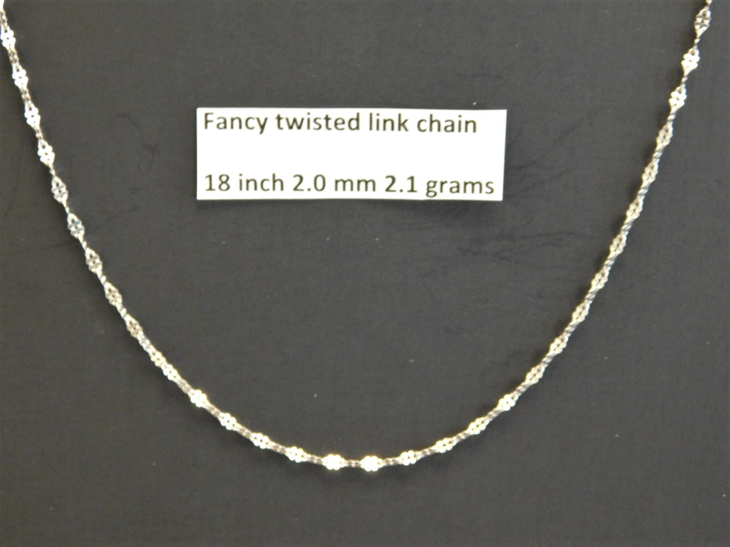 18 Inch Sterling Silver Fancy Twisted Link Chain
