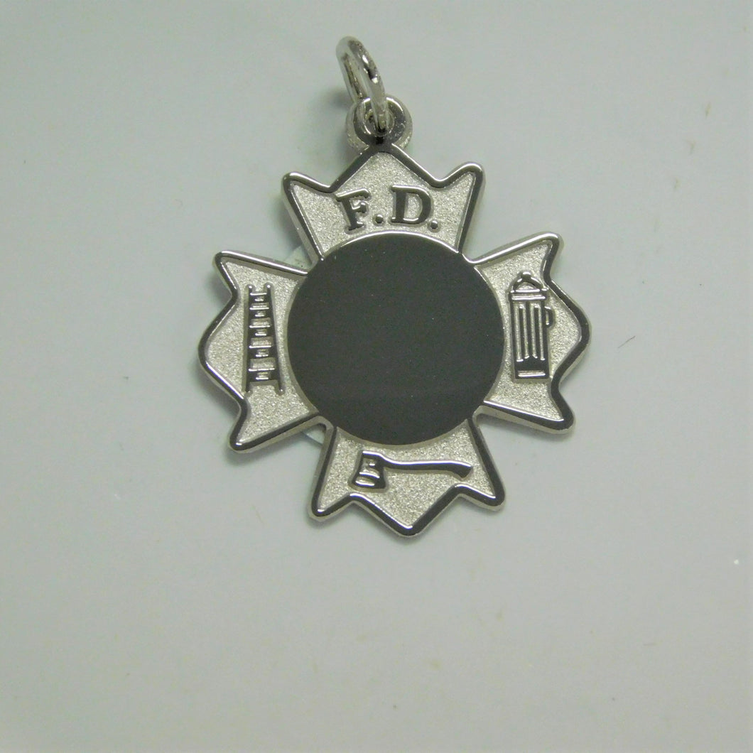 Sterling Silver Fire Department Cross Charm