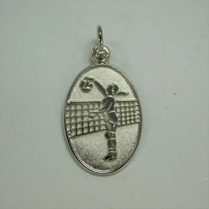 Sterling Silver Female Volleyball Player Charm