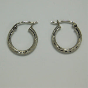 Sterling Silver Diamond Cut Hoop Earring