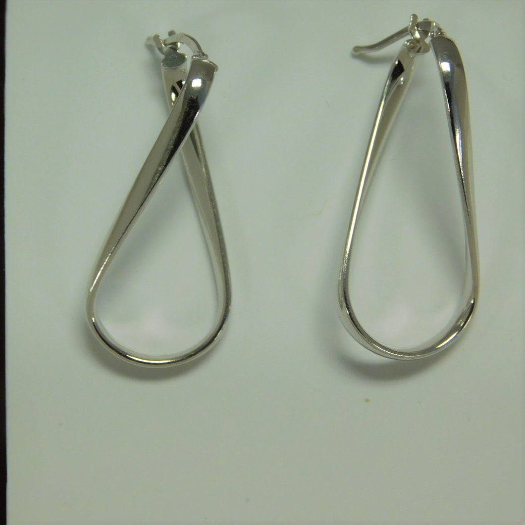 Sterling Silver Fancy Twist Hoop Earring