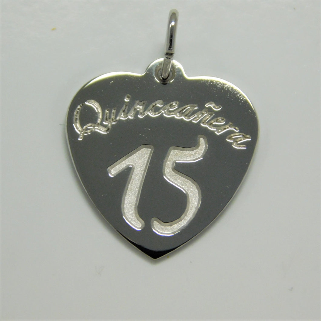 Sterling Silver Quinceanera Charm (Sweet 15)