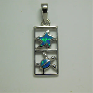 Sterling Silver Starfish /Turtle Created Opal Charm