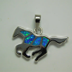 Sterling Silver Created Opal Horse Charm
