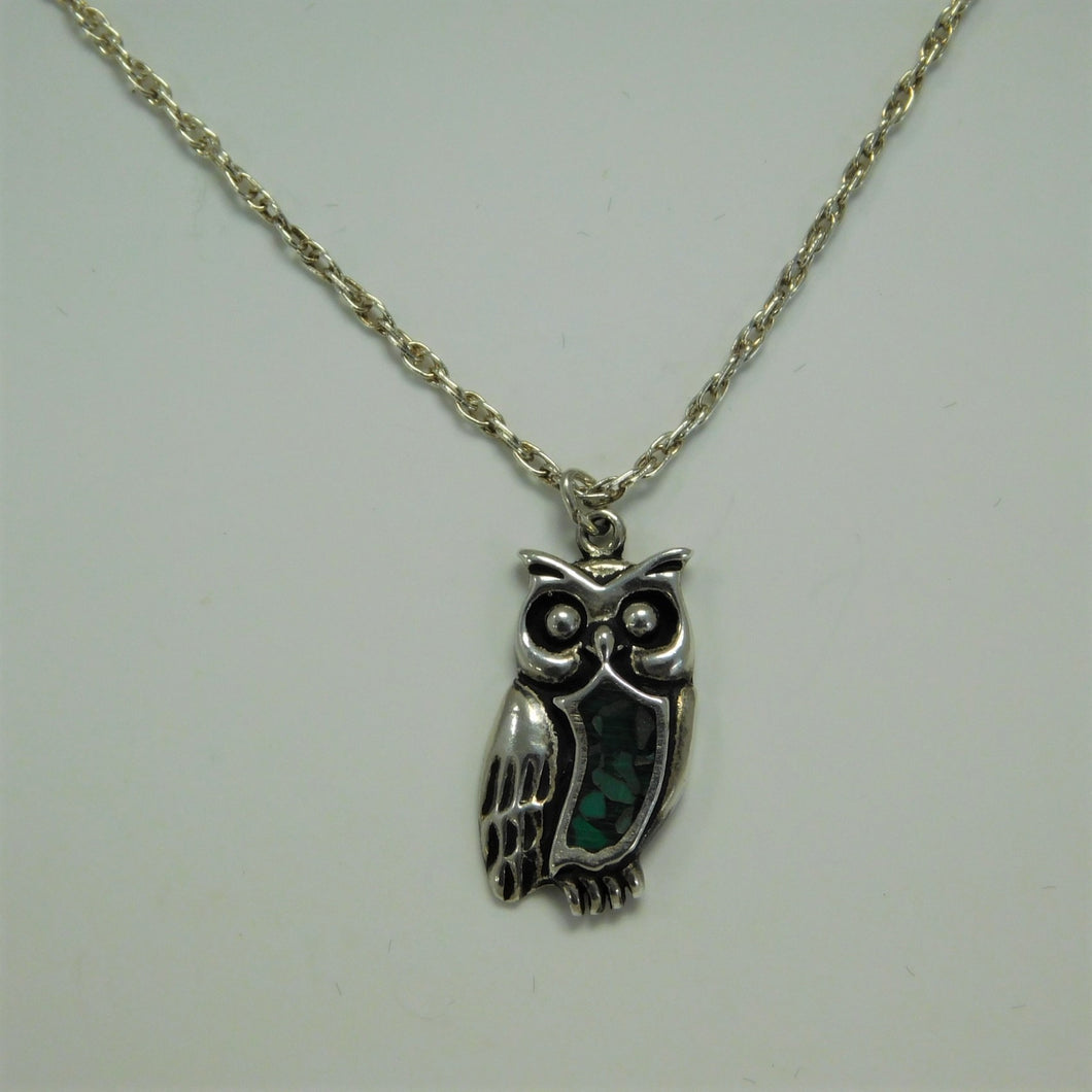 Sterling Silver Turquoise Owl SC Necklace