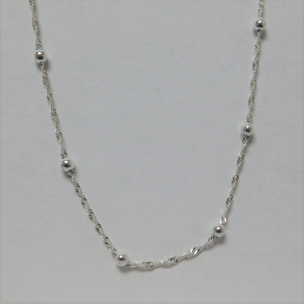 16 Inch Sterling Silver Singapore Beaded Chain