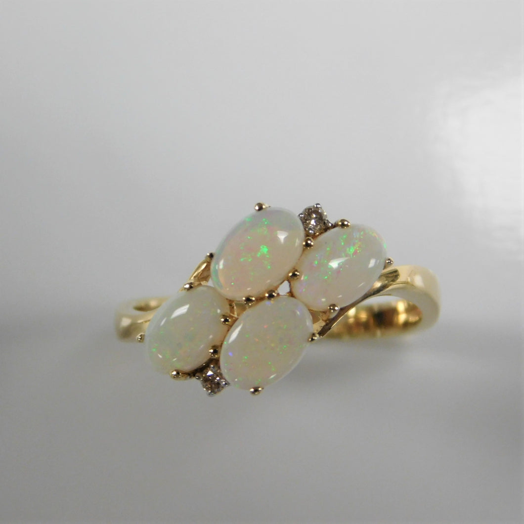 14K Opal Diamond Ring