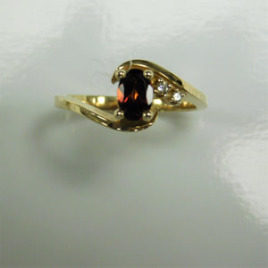 10K Garnet Diamond Ring