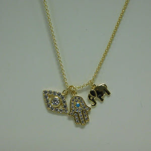 Sterling Silver Vermeil Hamsa ,Evil Eye, Elephant SC Necklace