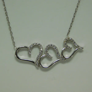 Sterling Silver Three Hearts SC Necklace
