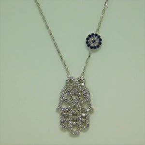 Sterling Silver Hamsa Flower SC Necklace