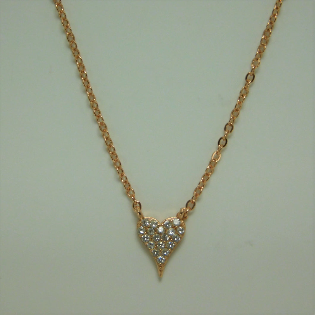 Sterling Silver Vermeil Rose Gold Heart SC Necklace